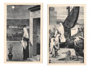 France Paris Le Pantheon Saint Genevieve Miracle Two Vintage Art Postcards