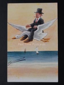 CYNICUS : IMAGE Montre Homme en chapeau haut & COSTUME Flying UN BLANC OIE c1910
