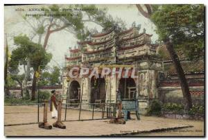 Old Postcard Hue Indochina annam Front Gate in front of a pagoda palace