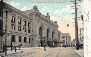 New York Central Train Station, Albany, N.Y., Early Postcard, Used in 1908