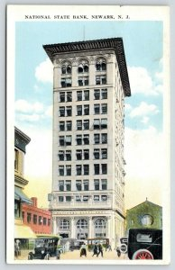 Newark New Jersey~National State Bank~12 Story Skyscraper~Vintage Cars~1920s PC