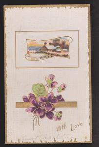General Greetings - With Love Flowers & Country House - Used 1911 - Embossed