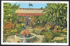 The Court Ramonas Marriage Place San Diego California Unused c1920s