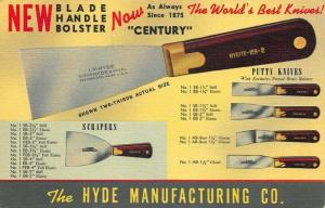South Bridge MA Hyde Putty Knives  Advertising Linen Postcard