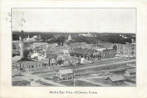 Cresco Iowa~Birdseye View~Downtown Business~Smokestack~RR Tracks~1907 PC