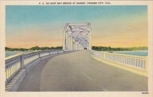 Florida Panama City East Bay Bridge At Sunset