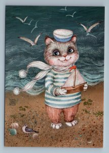 FUNNY CAT in Sailor Costume on Sea with Ship seagulls Fancy Russian New Postcard
