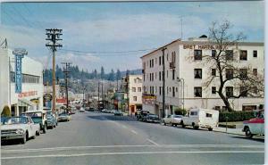 GRASS VALLEY, CA California    STREET SCENE CHEVY Dealership  c60s Cars Postcard