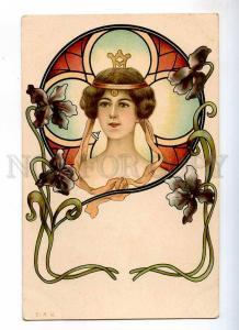 235120 ART NOUVEAU Head of Belle NYMPH IRIS Vintage E.A.W.