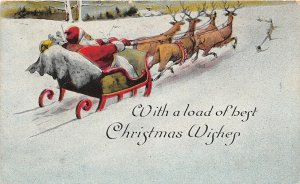 F99/ Santa Claus Christmas Postcard c1910 Sleigh Reindeer Snow 10