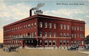 D19/ Iowa Falls Ia Postcard c1910 Hotel Woods Building Automobiles