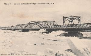Ice Jam at Wooden Bridge - Fredericton NB, New Brunswick, Canada - pm 1906