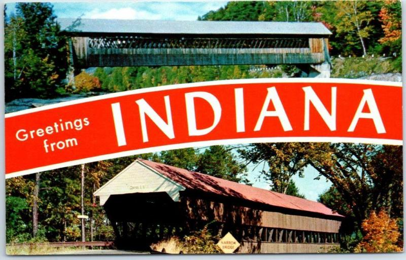 Greetings from INDIANA Large Letter Postcard w/ Covered Bridges c1950s Chrome