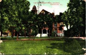 Vtg Postcard 1911 1st Congregational Church Evanston Illinois