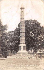 RPPC Arnolds Park IA 1857 Indian Massacre Monument Iowa Vintage Postcard 1938