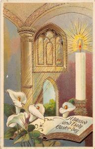 A90/ Easter Postcard Holiday Greetings 1916 Church Interior Candle Gold-Lined 21