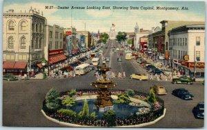 Montgomery, Alabama Postcard DEXTER AVENUE Downtown Street Scene Linen c1940s
