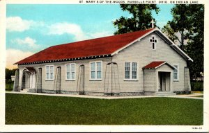 Ohio Indian Lake Russels Point St Mary's Of The Woods Church 1930 Curteich