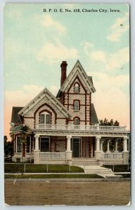 Charles City Iowa~BPOE 418~Elks Club House~c1910 Postcard