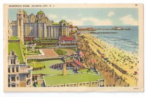 Atlantic City NJ Boardwalk Scene Tichnor Linen 1944