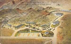 El Paso Texas College Of Mines Aerial View Antique Postcard K26096