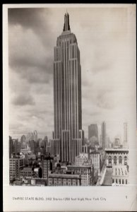 NY New York City Empire State Bldg (102 Stories-1250 Ft High Mainzer Photo  RPPC