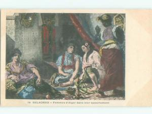 foreign Pre-1907 Postcard signed EUROPEAN PEOPLE SITTING ON THE FLOOR AC3793