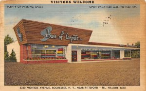F57/ Rochester New York Postcard Linen House of Carpets Store Funky
