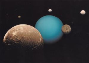 Uranus & Five Moons Armagh Planetarium Irish Astronomy Postcard