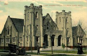 Enid OK~Nice Model Car~1st Presbyterian Church~Steps Up To Triple Arches~Towers