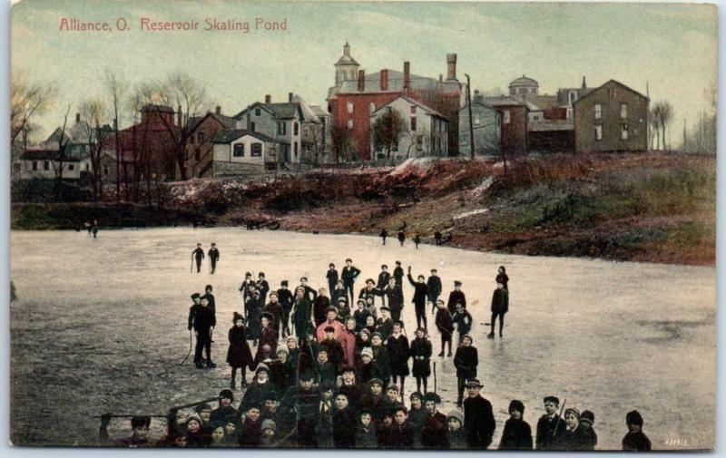 Alliance, Ohio Postcard Reservoir Skating Pond Ice Skating Scene c1910s Unused
