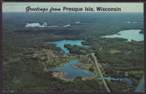 Greetings From Presque Isle,WI Postcard BIN