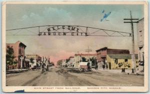 Garden City, Kansas Postcard Main Street from Railroad Hand-Colored c1910s