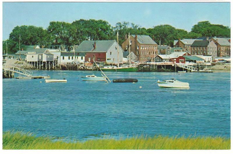 BOATS IN THE HARBOR of DAMARISCOTTA MAINE CHROME POSTCARD