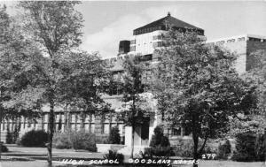 Goodland Kansas~High School Building~Lots of Trees on Lawn~1950s B&W Postcard