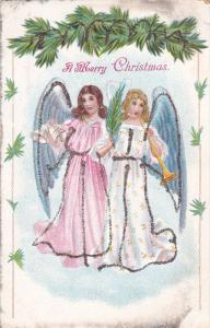 CHRISTMAS; A Merry Christmas, Angels ringing bells and blowing horn, glitter ...