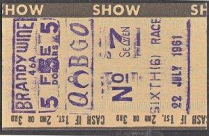 BRANDYWINE RACEWAY - WILMINGTON DE / Old betting ticket - dated 1961