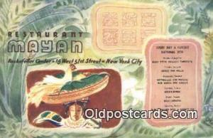 Restaurant Mayan Restaurant, New York City, NYC Postcard Post Card USA Old Vi...