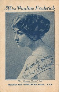 Miss Pauline Frederick actress Postcard