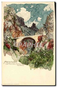Old Postcard Illustrator Menton on the border Italian Franco