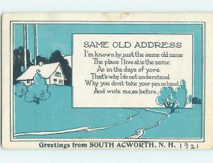 1921 postcard COMIC POSTCARD South Acworth New Hampshire NH HM4686