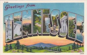 Greetings From Tennessee Large Letter Linen