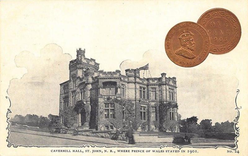 Caverhill Hall St John NB 1903 1 Cent Coin #24 Postcard