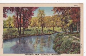 Wisconsin Greetings From Evansville 1953 Curteich