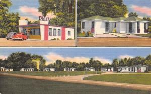 Havana-Quincy-Tallahassee FL Glenwood Motel Cabins~Art Deco Cafe~Linen 1940s PC