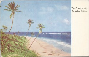 The Crane Beach Barbados BWI c1950s w/ stamps Postcard F52
