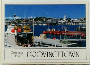 1980s Cape Cod Greetings From Provincetown MA Postcard Fishing Boats Harbor