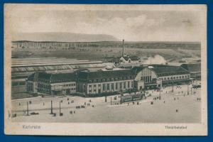 Karlsruhe Hauptbahnhof Railway station Germany railroad train postcard