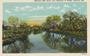 BEATRICE, Nebraska, 1910-30s; Beautiful Blue River, from Highway 77 Bridge