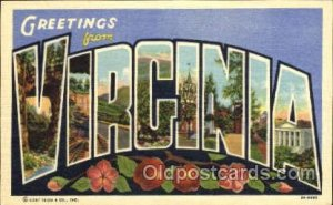 Greetings From Virginia,  USA Large Letter Town Towns Postcard Postcards Unused